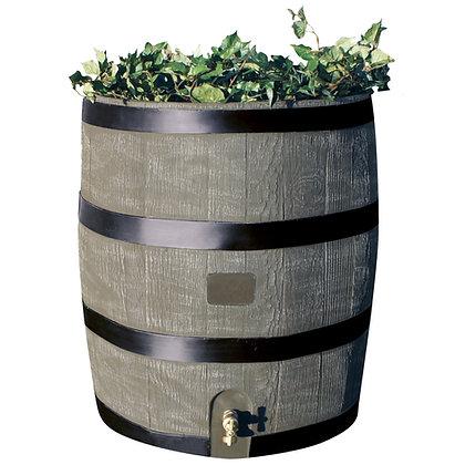 Round Rain Barrel With Planter - Woodgrain with Black Stripes