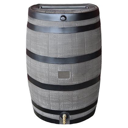 Flat Back Rain Barrel - Woodgrain with Black Stripes