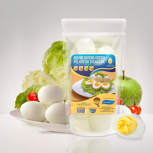 Huevo Cocido Pelado en Salmuera 6 Unidades