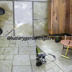 Power washer in action