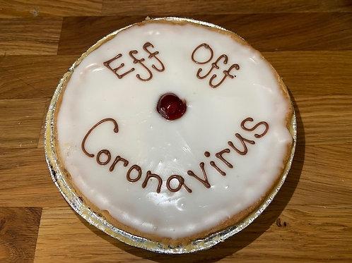 """""""Eff Off Coronavirus"""" Iced Cherry Bakewell Tart"""