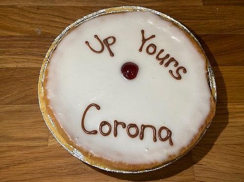 """""""Up Yours Corona"""" Iced Cherry Bakewell Tart"""