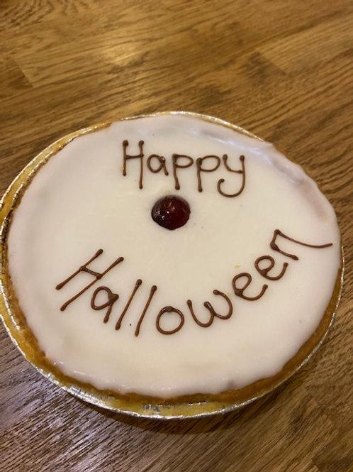 """Happy Halloween"" Iced Cherry Bakewell Tart"