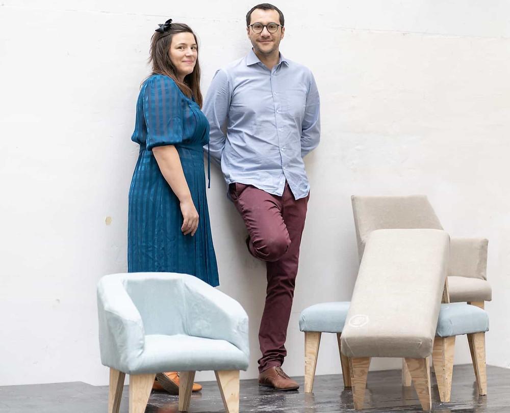 fauteuils et banc design et écologique en lin