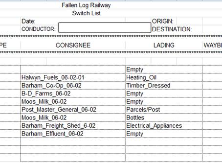 Switch List using Bar codes