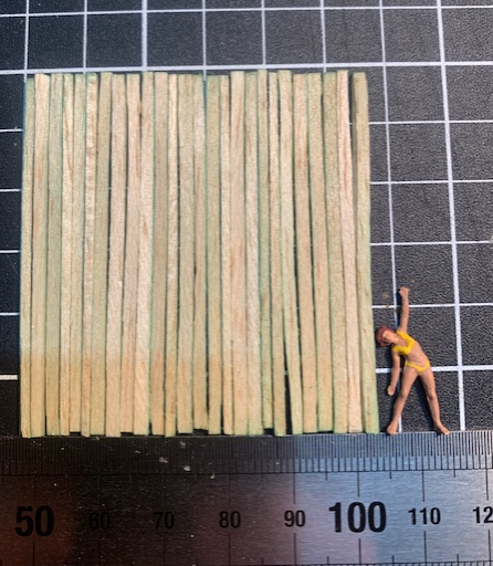 I use the scale ruler to get the palings in order before cutting.