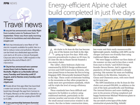 French Property News features ECSUS Design's Record Chalet Build