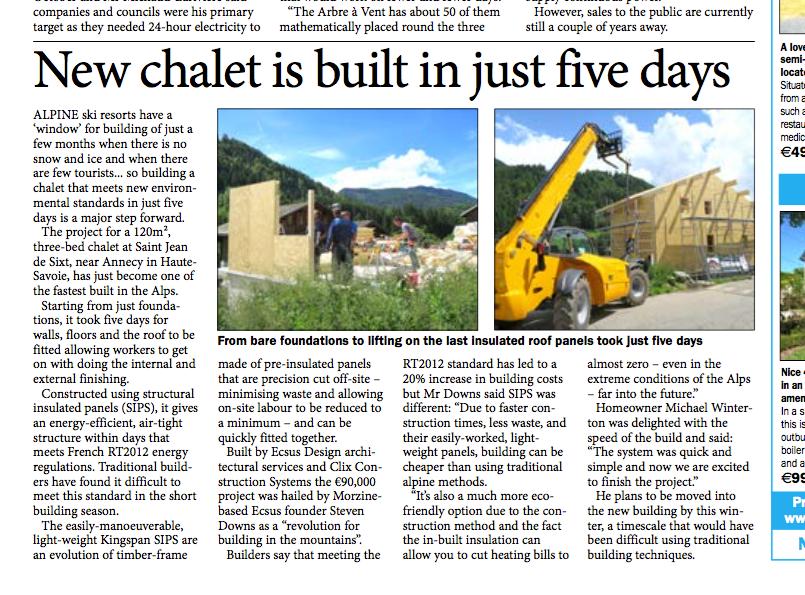 Ski chalet built in 5 days in the Alps