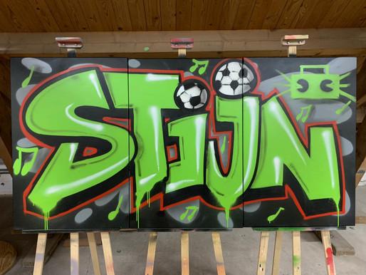 Muziek/voetbal. Stijn, op canvas.