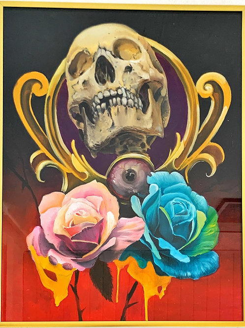Skull with flowers on wood (40x50) by Cliff