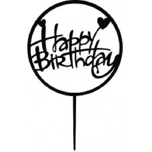 Cake Topper - Happy Birthday Schwarz Acryl