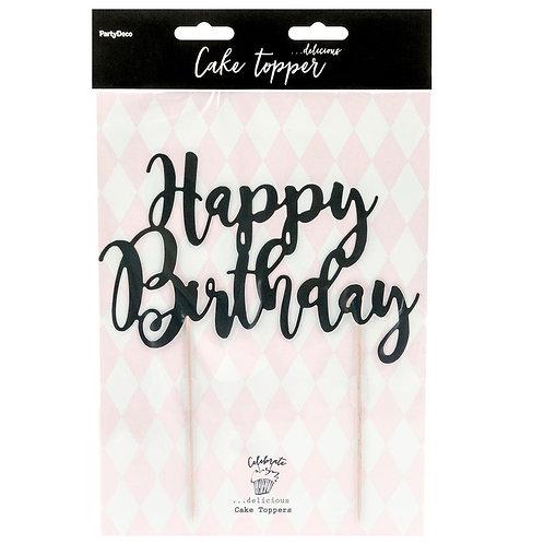 Cake Topper - Happy Birthday - Schwarz