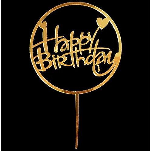 Cake Topper - Happy Birthday Gold Acryl