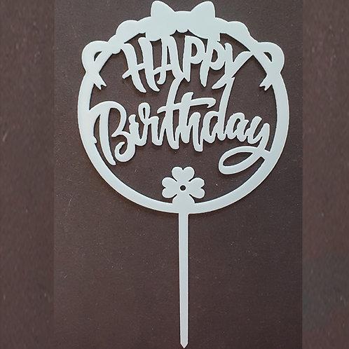 Cake Topper - Happy Birthday Baby Blau Schleife Acryl