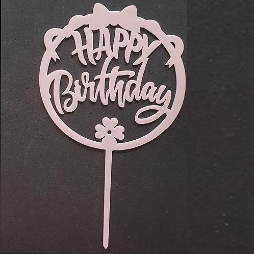 Cake Topper - Happy Birthday Rosa Schleife Acryl