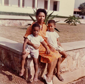Culture clash: Kwei and 2nd brother with mother at the University of Ghana