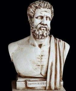 """President Trump Is Guilty of Negligent Manslaughter, article shows Bust of Hippocrates, """"Father of Medicine, possibly marble against black background"""