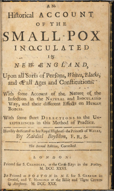 Image of the paper presented to the Royal Society in July 1726 by Zabdiel Boylston of Boston