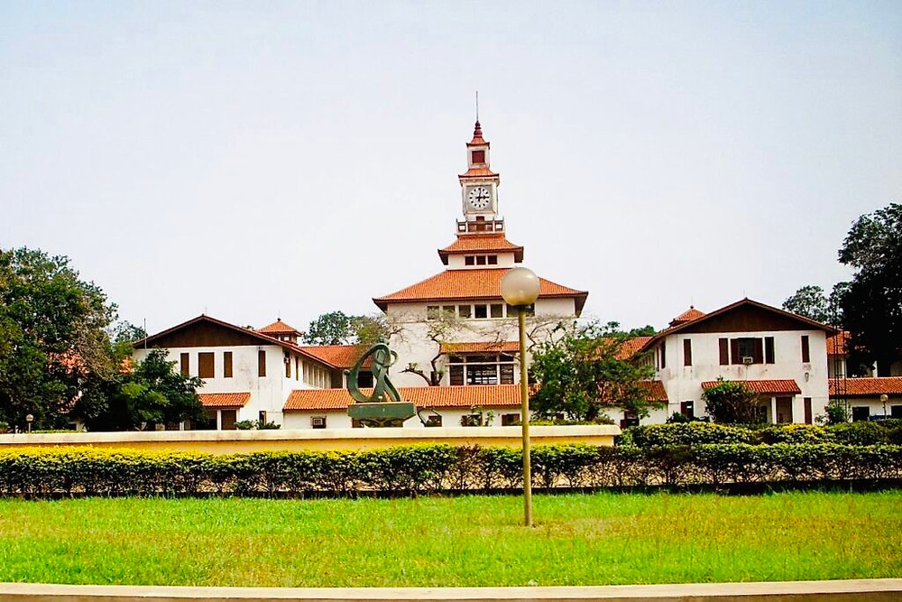 Culture Clash at the University of Ghana: Balme Library, University of Ghana, red-tiled pagoda-style roofs (Photo: Kwei Quartey)