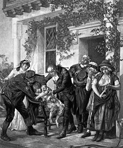 HOW VACCINES BECAME POLITICAL: Edward Jenner vaccinating James Phipps, 1796 (Image: Everett Historical/Shutterstock)