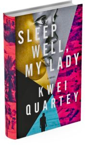 Book jacket cover viewed with the spine showing, a murder mystery, Sleep Well, My Lady, pink, blue, black, gold, gray colors, beautiful black woman face in profile in the gold and gray portions of design