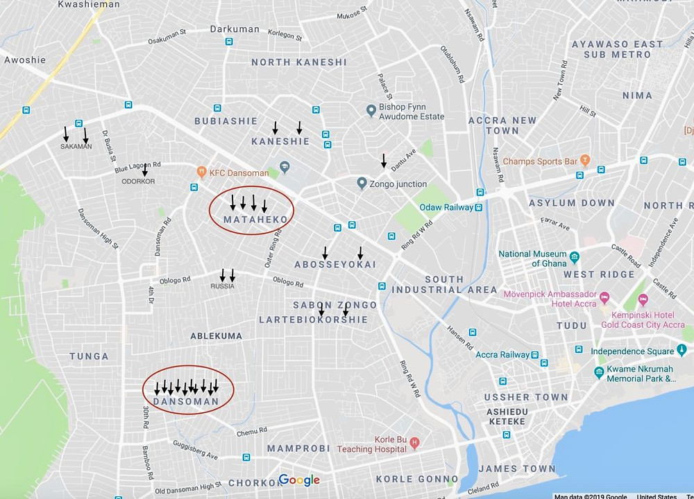 AFRICA'S GREATEST UNSOLVED MURDERS: DISTRIBUTION OF MURDERS ASCRIBED TO CHARLES QUANSAH (Google Maps, annotation Kwei Quartey)