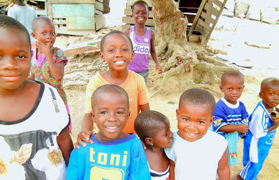 My Top Ten Ghana Scenes: Aspontaneous group of children in the town of Dunkwa, Central Region (Photo: Kwei Quartey)