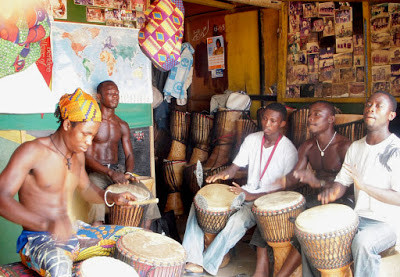 My Top Ten Ghana Scenes: A troupe of drummers at the Arts Center, Accra (Photo: Kwei Quartey)