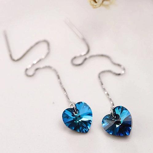 Long Chain Hope Heart Earrings