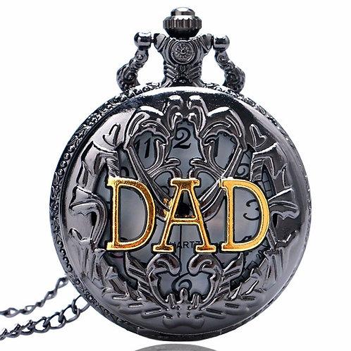 DAD Black & Gold Scroll Large Pocket Watch