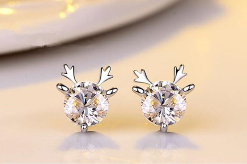 Sparkly White Deer Studs