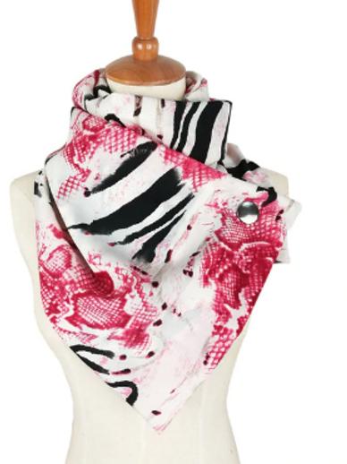 Pink Flower Zebra Wrap Scarf