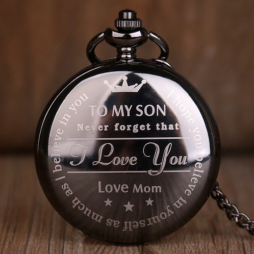 """Black """"To My Son"""" Large Pocket Watch"""