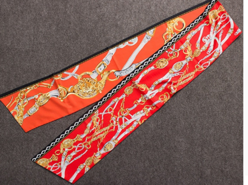 Chain Motif Long Tie Scarf - Orange