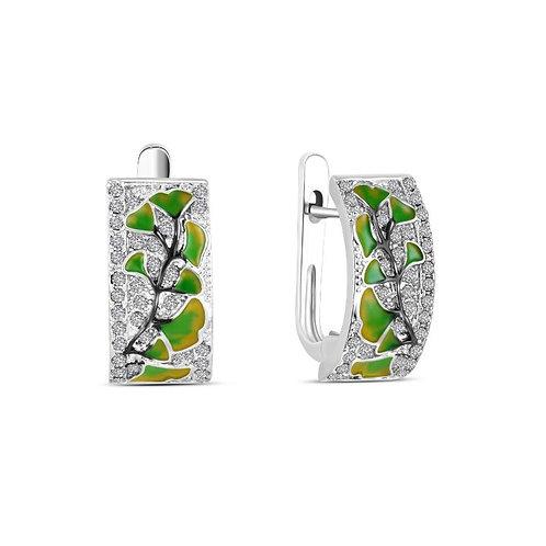 Ginkgo Leaf Pave Earrings