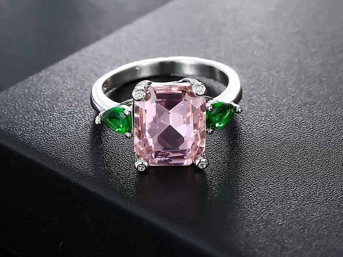 Pink with Green Leaves Ring