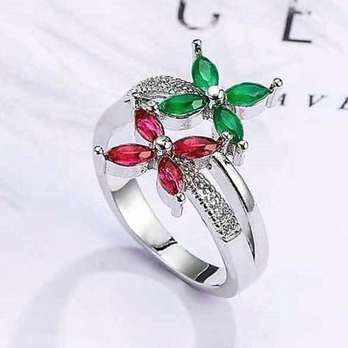 Pink & Green Flowers Ring