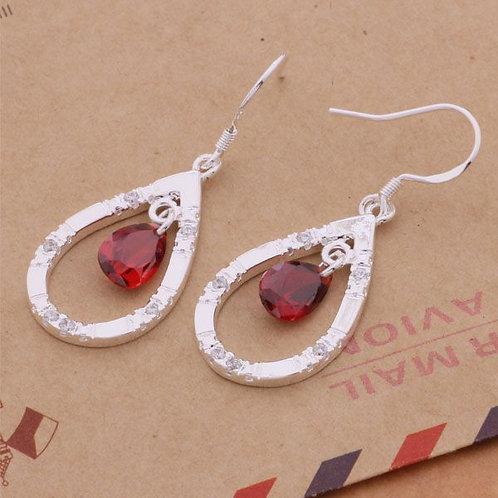 Lady in Red Tear Drop Earrings