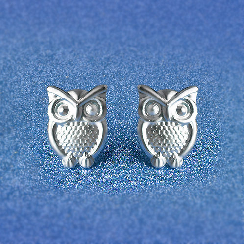 Silver Owl Studs