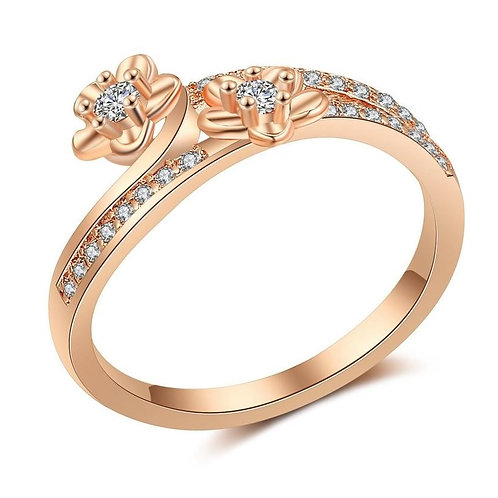 Twin Rose Gold Flowers Ring