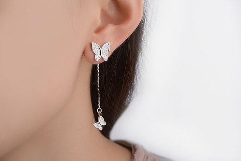 Pave Butterfly Tassel Earrings