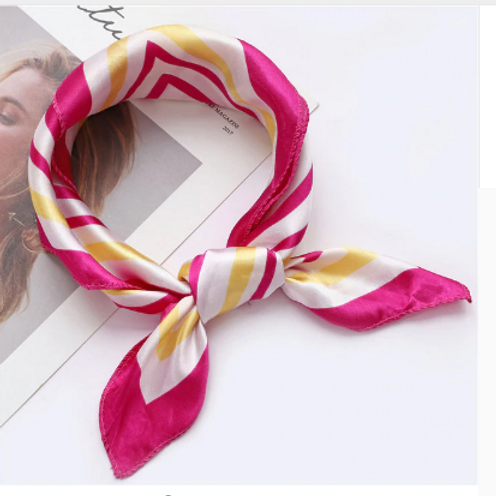 Pink Striped Accessory Square Scarves