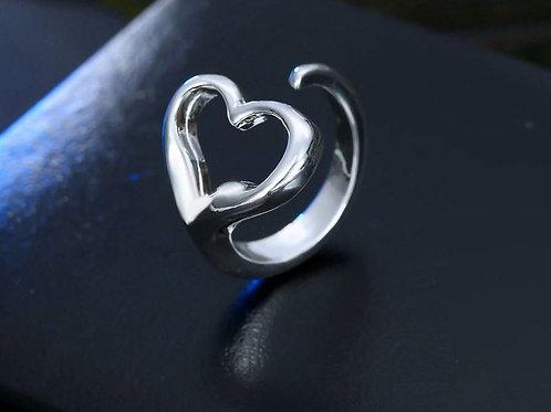 Silver Heart Adjustable Ring