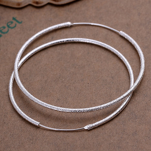 Frosted Medium Silver Hoops