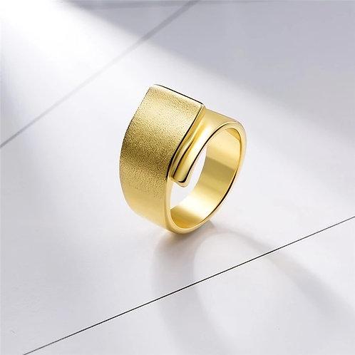 Brushed Gold Overlap Ring