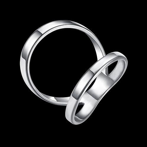 European Irregular Double Band Ring