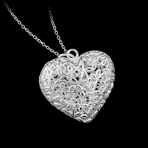 Flowers & Leaves Heart Silver Necklace