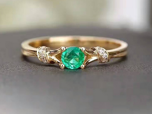 Sea Green in Gold Ring