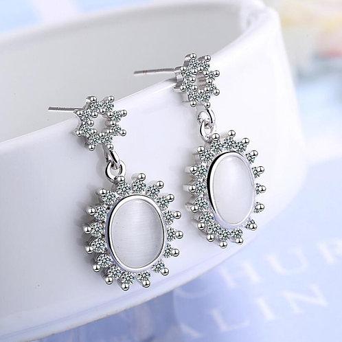 Imitation Opal Oval Earrings