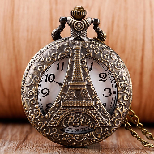 Paris Eiffel Tower Large Pocket Watch